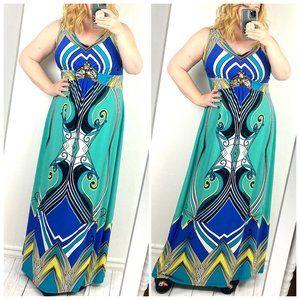 NY Collection maxi dress empire waist beaded jewel